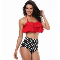 New Plus Size Swimwear Women High Waist Bikini 2018 Vintage Bandage Swimsuit Lotus Lace Bikinis Bathing
