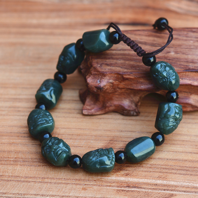 2017 New Dark Green Natural Hetian Stone Bracelet Arhats Figure Beads Women Men's Gift Bracelets Nephrite Qing Jades Jewelry