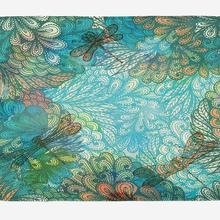 Dragonfly Bath Mat Fantasy Flowers Mixed in Various Tones Sh