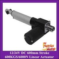 Heavy Load !! 6000N/600kgs load heavy duty linear actuator, DC 12V/24V 24inch/600mm stroke 5mm/s linear actuators