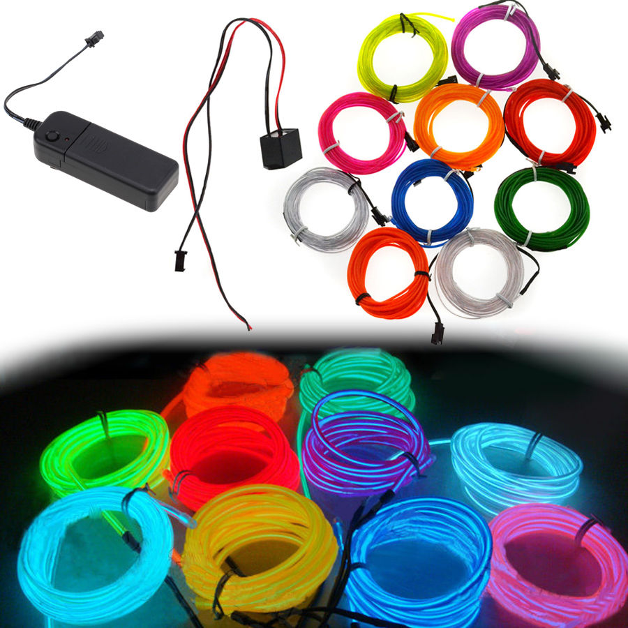 hight resolution of possbay 1 set 3m led flexible neon el wire glow light strip car stage home party dance moblie switch controller in signal lamp from automobiles