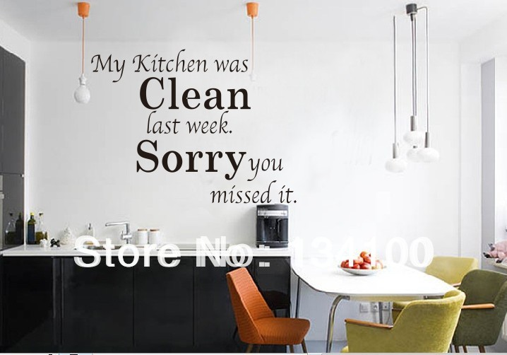 English Quotes Words Saying My Kitchen Was Clean Waterproof Removable Wall Stickers For Dining Room Art Vinyl In From Home Garden On
