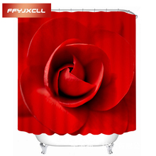 Romantic Beautiful Red Roses Pattern Shower Curtain Waterproof Eco-Friendly Polyester Bathroom