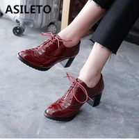 ASILETO womens Oxford shoes brogues Patent leather pumps chunky Heels Women Pumps Lace up big size 33~43 zapatos footwear QA3840