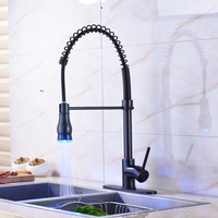 Oil Rubbed Bronze Kitchen Sink Taps Deck Mounted Pull Down Spring Kitchen Faucet With 10