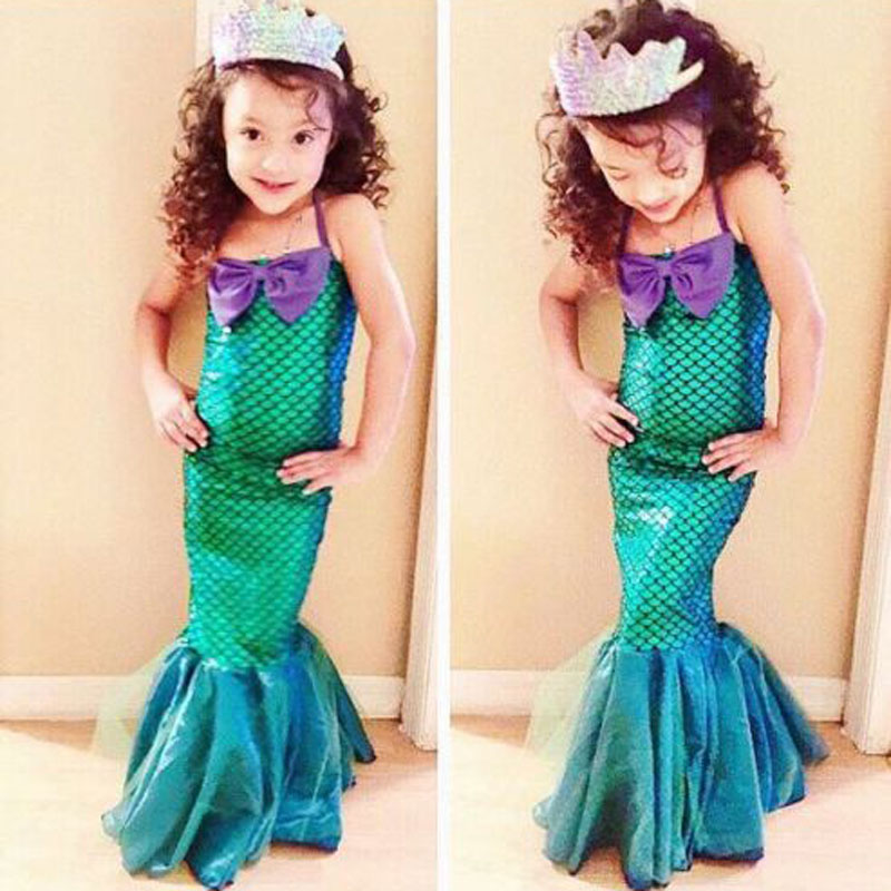 Fashion Summer Girls Princess Dresses Fishtail Kids Ariel Little Mermaid Dress Halloween Party Cosplay Costume FS99