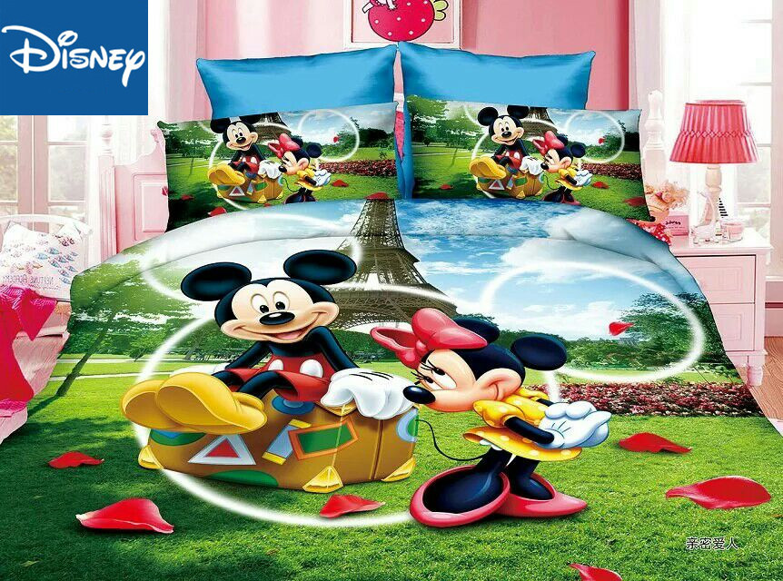 Mickey And Minnie Mouse Bedding Set For Children Bed Decor Single Size Quilt Covers Twin Bedspread Flat Sheet 2/3/4 Pcs Hot Sale