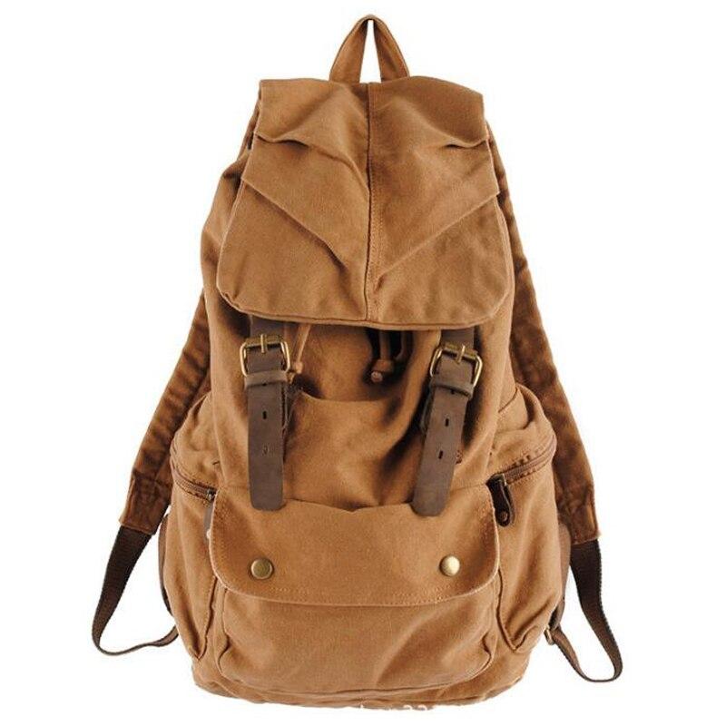Toile Vintage sac à dos en cuir garniture décontracté Bookbag hommes femmes ordinateur portable voyage sac à dos