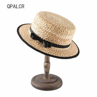 QPALCR Lady Boater Sun Caps Ribbon Flat Top Hat Straw Beach Hat Panama Summer Hats For Women Straw Hat Snapback Gorras