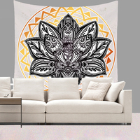 Moliy Mandala Lotus Wall Hanging Cloth Tapestry Bohemia Wall Carpet Thin Blanket for Home Living Room Dorm Wall Decorative
