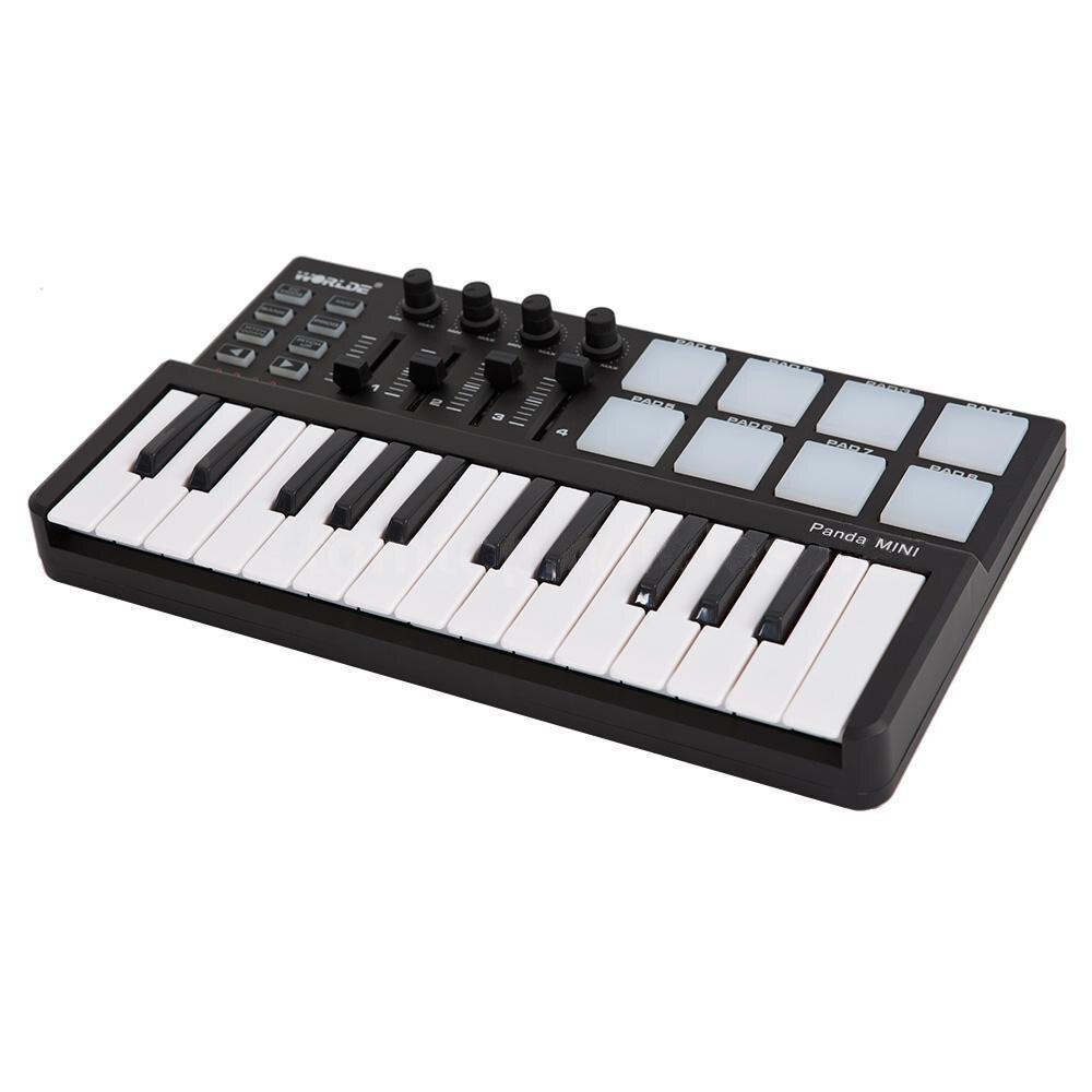 Музыка-S Worlde панда Портативный 25-ключ USB клавиатура барабану MIDI-контроллер Новый JA3M