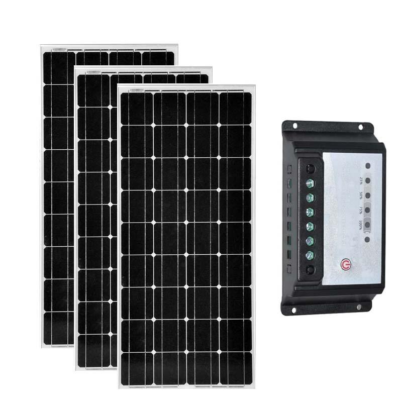 Zonnepaneel 12 v 12 v 100 w 3 piezas Zonnepaneel 300 w controlador de carga Solar 12 v/24 v 20A cargador de batería caravana Verlichting