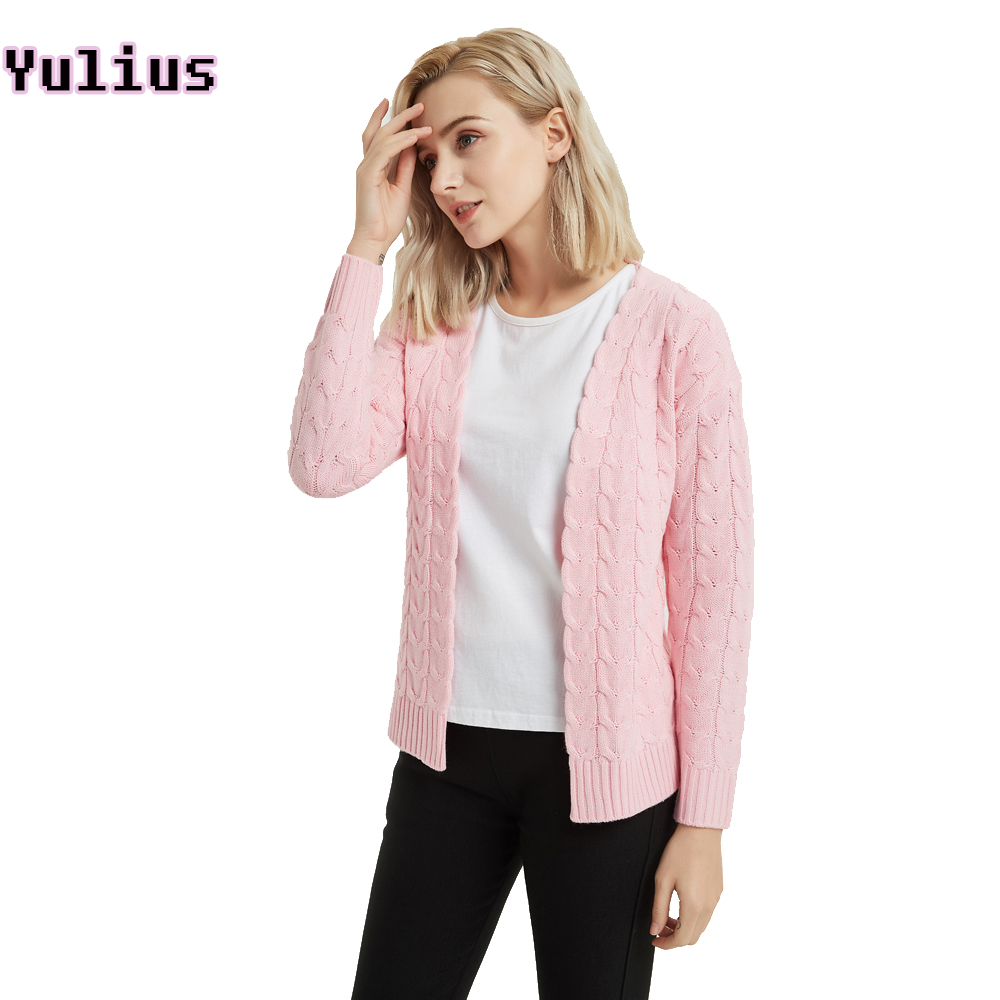 Korean Style Cable Knit Cardigans for Women 2018 Pink