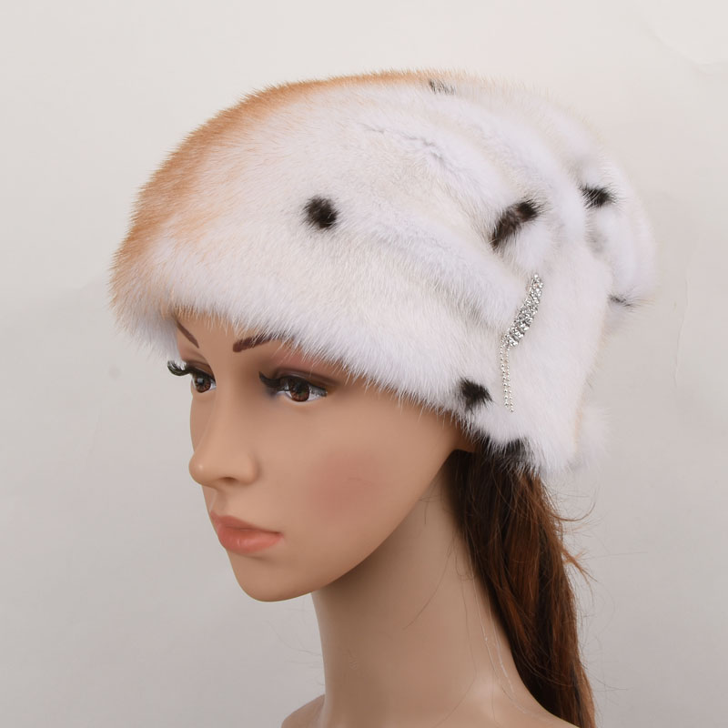 Winter women's hat real natural whole mink fur hats new fashion fur caps female thick warm russian beanies caps women s cap knitted mink fur hat for women winter warm fashion leather fur headdress beanies russian mom ladies caps