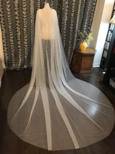 Plain Wedding Cape Veil Bridal Shoulder Veil White/Ivory Tulle Long Cape Cloak Shawl White/ Ivory