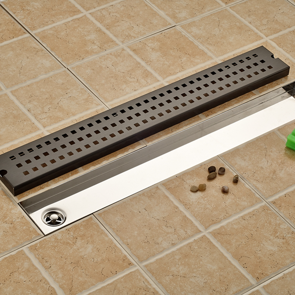 Grill Shape Black Drainer Floor Drain Square Bathroom Shower Grate Waste Drainer