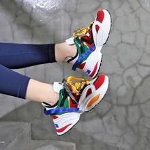 2019 женская обувь для бега на платформе кроссовки унисекс на плоской подошве с толстой подошвой, увеличивающие рост, для папы, для тенниса, белого цвета, на танкетке, Chaussure Femme 46