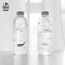 1000ml série do oceano selo baleia garrafa de água de vidro com manga criativa garrafas esporte acampamento garrafa tour drinkware