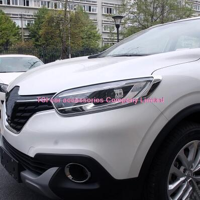 ABS car-styling Chrome Front Headlight Head Light Lamp Cover Trim fit For Renault Kadjar 2015 2016 car accessories automobiles
