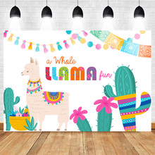 Fiesta Llama Backdrop Fun Birthday Backdrops Party Cactus Below Mexican Theme Background for Baby Shower Decoration