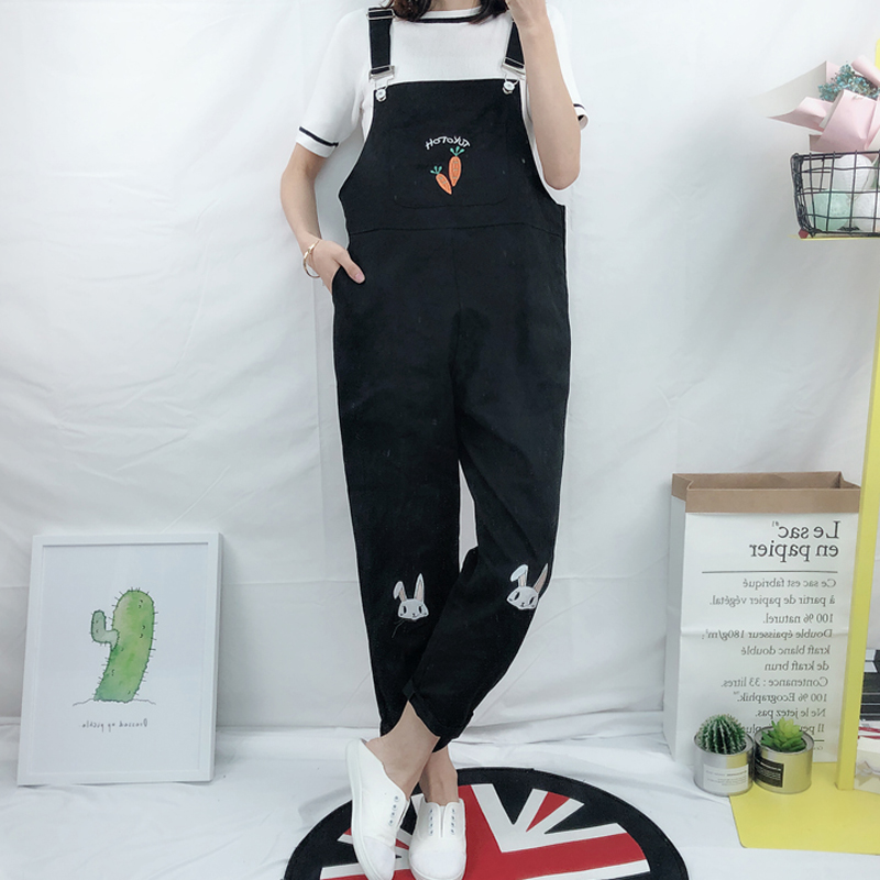 Japanese Vintage Womens Cute Pink Bunny Jumpsuit Rabbit Embroidery Rompers White Overalls Pants Mori Girl's Suspenders Trousers