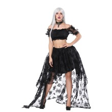Vintage Sexy Black Floral Lace Front short Back Long Asymmetrical Skirt Whit Short Top Set Gothic Clothes Lolita Steampunk Skirt цена 2017