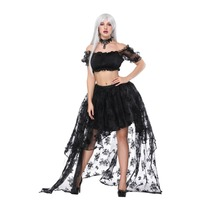 Vintage Sexy Black Floral Lace Front short Back Long Asymmetrical Skirt Whit Short Top Set Gothic Clothes Lolita Steampunk Skirt