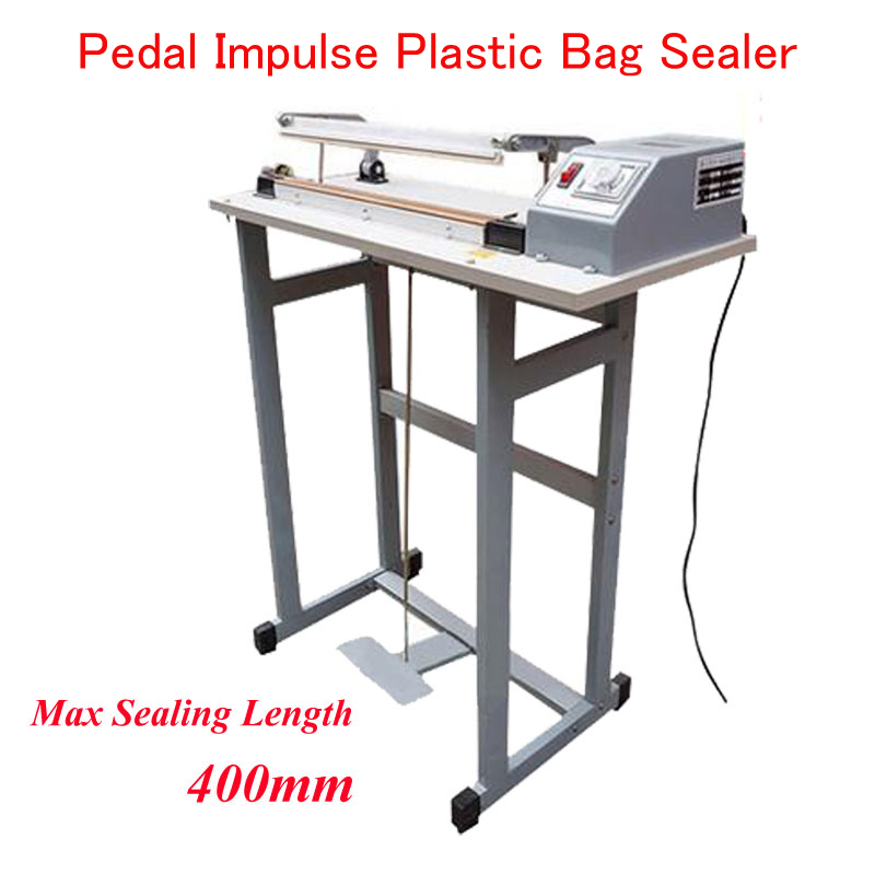 Foot Pedal Impulse Plastic Bag Sealer Heat Sealing Machine Package Shrinking for Sood Electric Beverage Packaging Use SF-400 t0 10mm w38mm l33m nitto denko heat sealing machine use heat resistant tape 923s