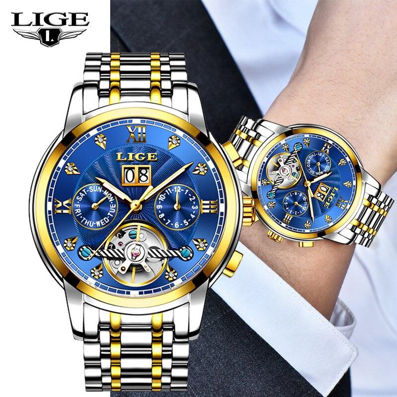 LIGE 2018 nouvelle marque de luxe hommes automatique montre mécanique affaires hommes étanche bracelet en acier inoxydable montres Reloj Hombre