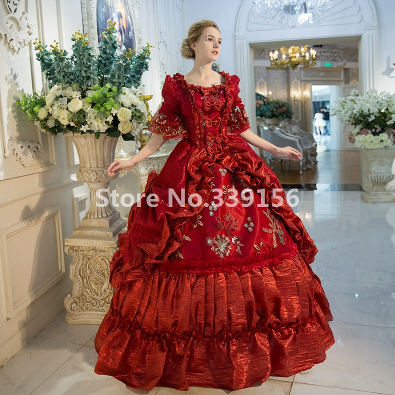 High-end Red Floral Marie Antoinette Wedding Party Dress 17th 18th Century Medieval Victorian Carnivale Gown For Women