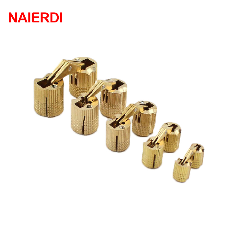 NAIERDI 4PCS 12mm Copper Barrel Hinges Cylindrical  Hidden Cabinet Concealed Invisible Brass Hinge Mount Door Furniture Hardware 2pcs 90 degree concealed hinges cabinet cupboard furniture hinges bridge shaped door hinge with screws diy hardware tools mayitr