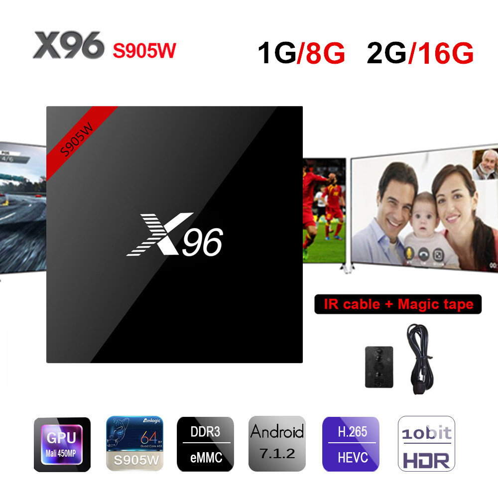 X96W TV Box Android 7.1 Amlogic X96 S905W Mini Smart TV Box 1g/8g 2g/16g Unterstützung 2,4 ghz WiFi Bluetooth HD 4 karat Set-top Box PK X92