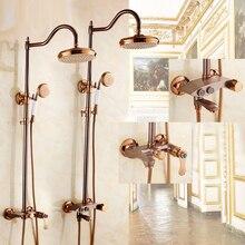 Роскошный специальный ORB вертикальный душ в ванную кран Набор латунный Смеситель для ванны кран с ручной настенный для душа