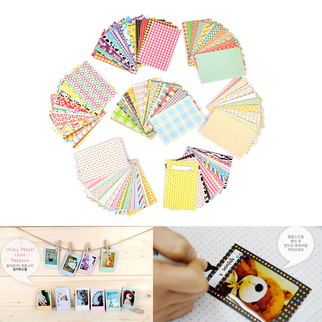 NEW 20 Pcs/Lot Candy Color Photo Albums Stickers DIY Scrapbook Decorative Paper Photos Frame For Instax Mini Film Home Decor