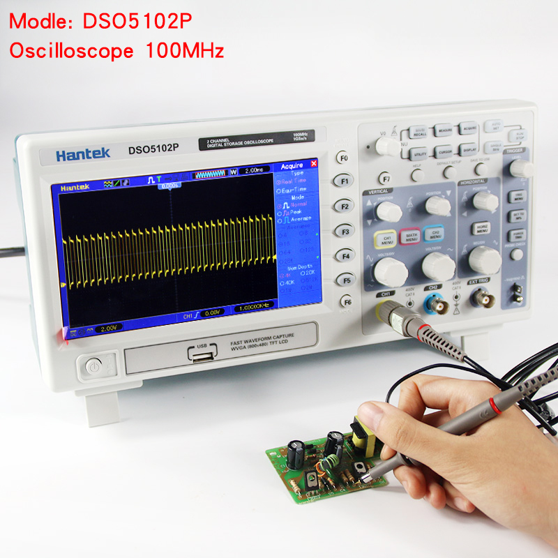 Hantek DSO5102P Digital Oscilloscope Portable 100MHz 2Channels 1GSas Record Length 40K USB LCD Handheld Osciloscopio 7 Inch (1)