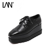 High quality Oxfords Shoes For Women Black Brogue Derby Women's Oxfords Shoes Platform Casual Ladies Flats Shoes Loafers
