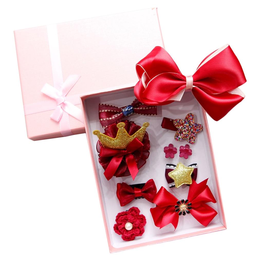 10pcs/set Kids Girls Hair Bow Clip Flower Star Rabbit Hair Claw Pin Little Children Girls Head Accessories