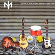 Im 3d pantalla del instrumento de música en miniatura modelo de guitarras y tambor gran regalo