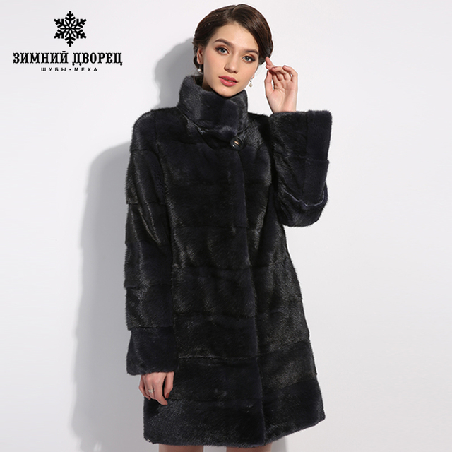 WINTER PALACE 2017 New fashion mink fur coat natural fur coat classical mink coat slim thin section influx of female mink coat