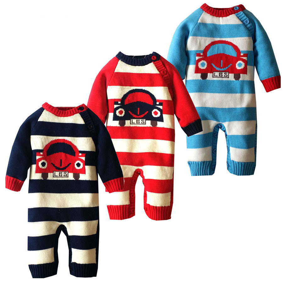Clearance Winter Thicken Baby Clothes Cotton Knitted Sweater Kids Fleece Rompers Newborn Infant Warm Jumpsuit Cute Strip Outwear