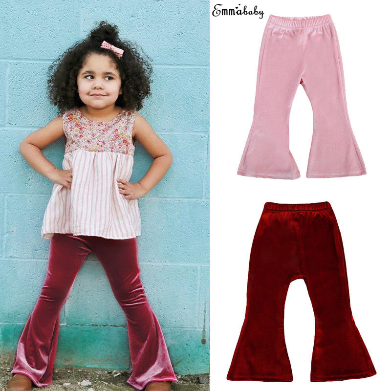Cute Lovely Toddler Kids bebek giyim Baby Girls Bell Bottom Wide Leg Stretch Flare Long Pants Fille Joli Long Trousers