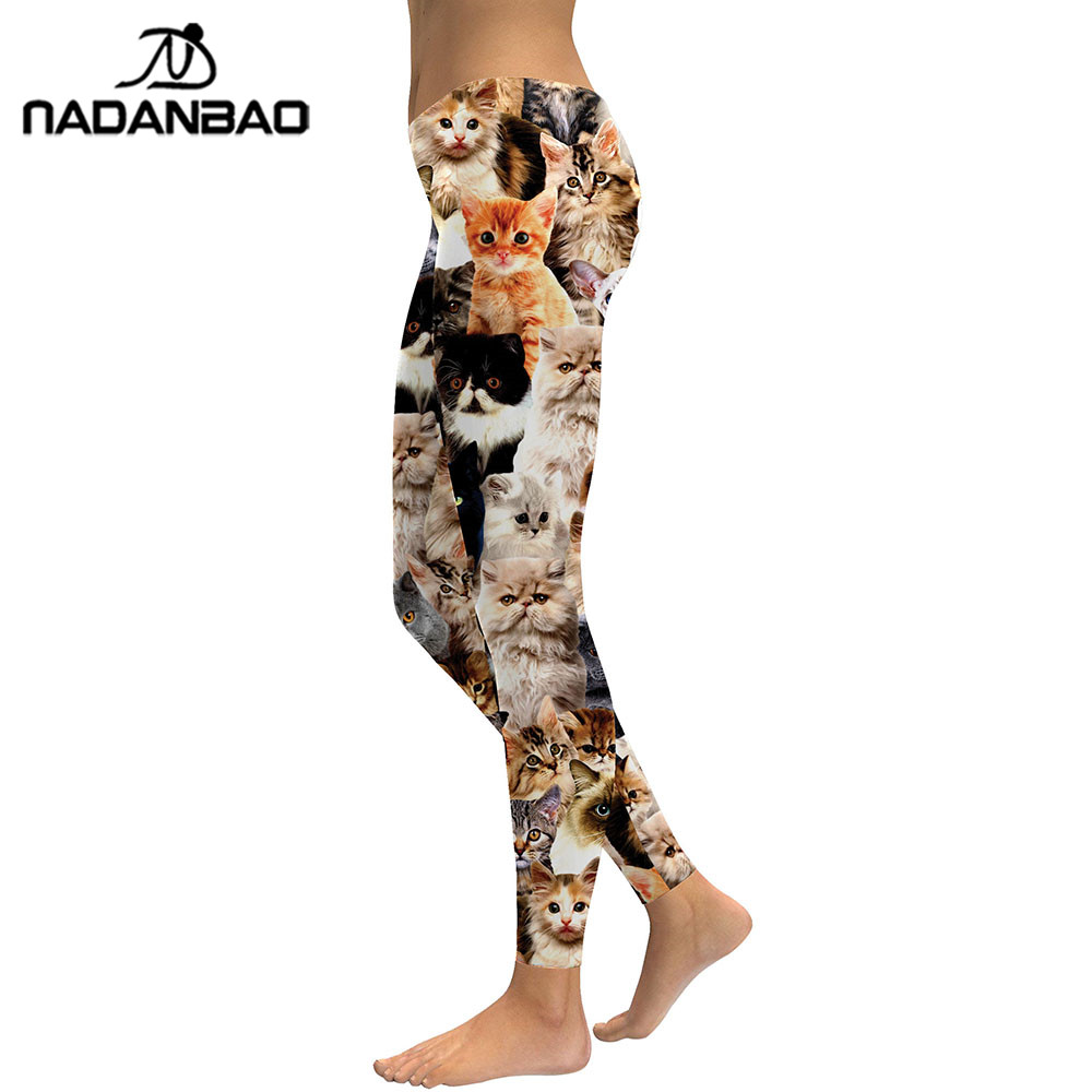 Image 2 - NADANBAO 2019 Women Leggings Lovely Cat Hologrephic Digital Print Fitness legging High Waist Workout Pants Casual Street Leggins-in Leggings from Women's Clothing