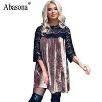 Abasona Pleated Women Lace Dresses Hollow Out Crochet Sexy Velvet Dress Plus Size Women Christmas Evening