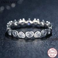 INBEAUT Real 925 Sterling Silver Linked Love Ring With Clear CZ Heart Charms End To End
