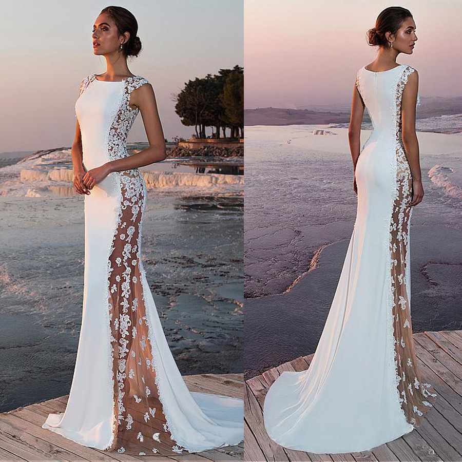 Fabulous Stretch Satin Bateau Neckline See through Cutout Side Mermaid Wedding Dress With Beaded Lace Appliques