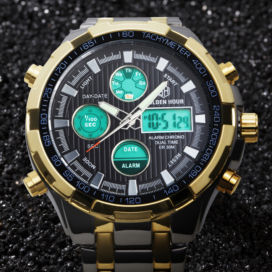 Luxury Brand Digital Watches Men Led Full Steel Gold Male Clock Men Military Wristwatch Quartz Sports Watch Relogio Masculino oulm male military watches gold quartz watch high quality top brand men full stainless steel wristwatch relogio masculino ht3548