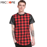 Brand Plaid T Shirt Men Cool Hip Hop Mens Short Sleeve T Shirts Swag Tyga Style