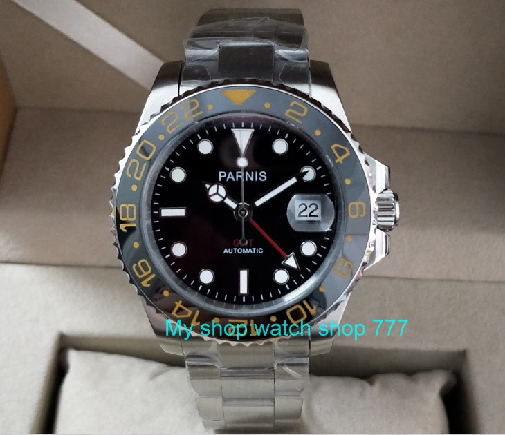 40mm PARNIS Sapphire Crystal GMT Automatic machinery movement luminous men s watches Black ceramic bezel xjp344A
