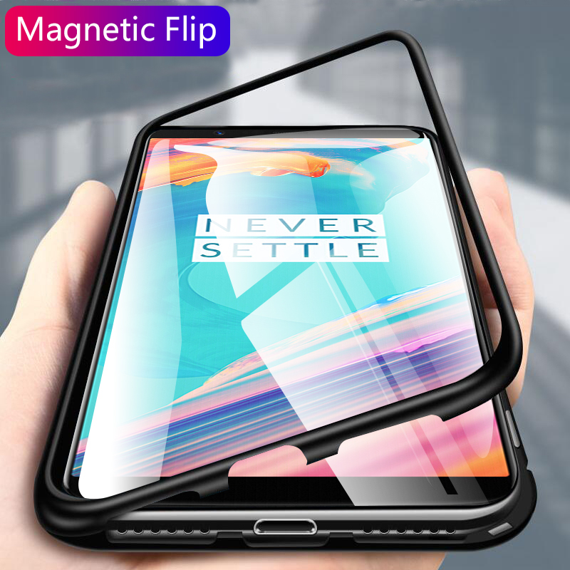 Magnetic Luxury Protective <font><b>Case</b></font> On The For <font><b>OnePlus</b></font> <font><b>5T</b></font> A5010 Hard Shockproof Phone Cover For <font><b>OnePlus</b></font> <font><b>5T</b></font> Back <font><b>Glass</b></font> <font><b>Case</b></font> Cover image