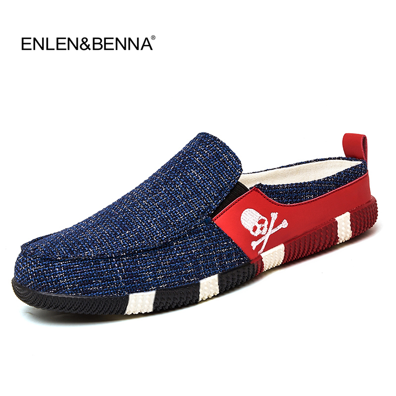 Hot 2016 Men Sandals summer half slippers men shoes canvas beach sandals causal lazy slip-on men slides flip flops size 39-44